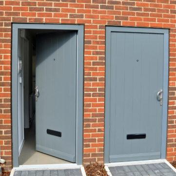 Entrance door in timber